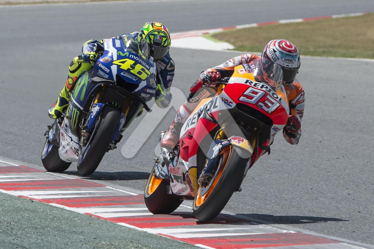 dd990c9a25a1b Drivers Marc Marquez and Valentino Rossi. Monster Energy Grand Prix of  Catalonia MotoGP at Circuit